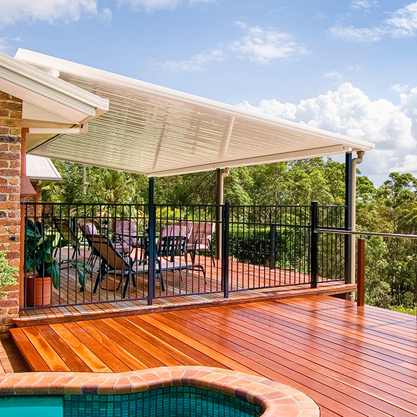 Rural balcony style patio and decking with a great view.