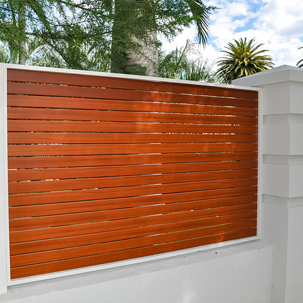 Slat fencing as an infill wall panel.